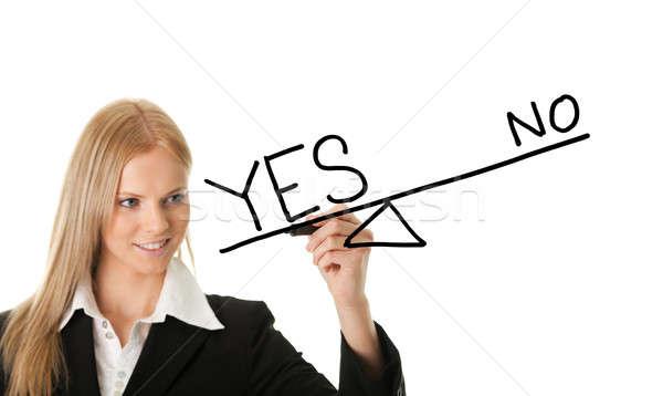 Evet kadın çizim beyaz ekran Stok fotoğraf © AndreyPopov