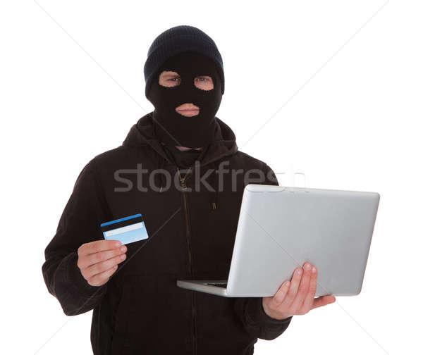Włamywacz karty kredytowej laptop maska Zdjęcia stock © AndreyPopov