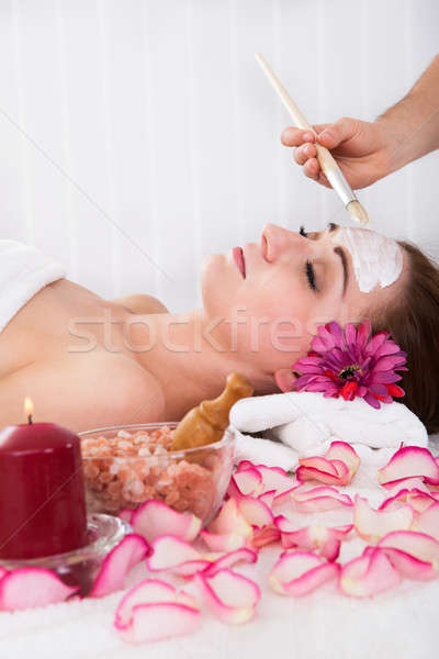 Woman getting facial mask at spa studio Stock photo © AndreyPopov
