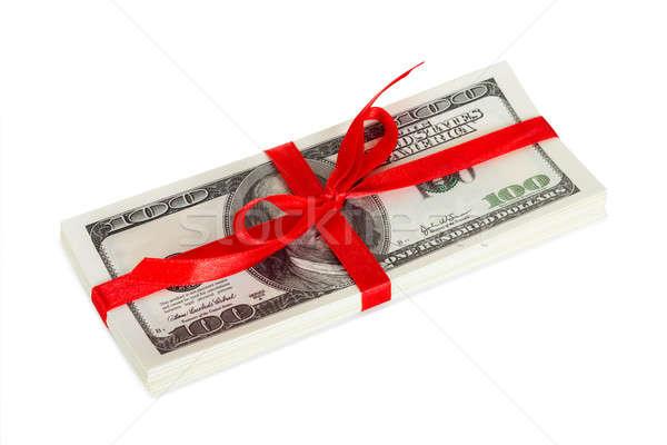 Paketlemek dolar hediye yalıtılmış beyaz doğum günü Stok fotoğraf © AndreyPopov