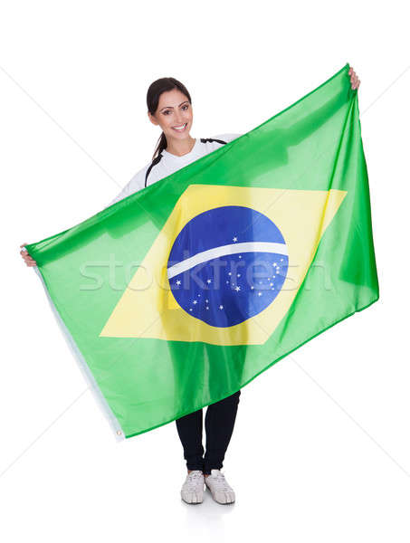 Pretty Woman Holding Brazilian Flag Stock photo © AndreyPopov
