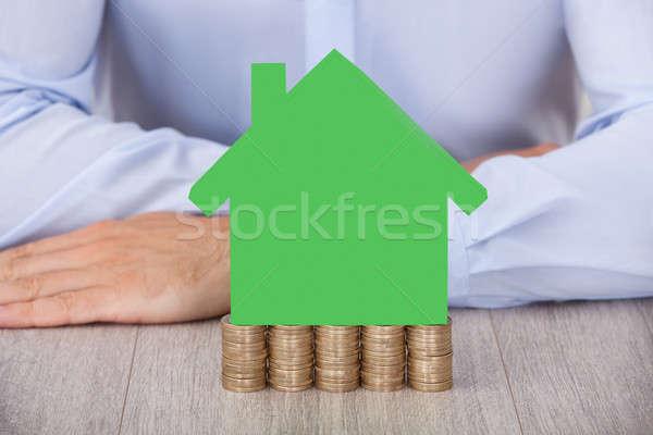 бизнесмен теплица модель монетами столе Сток-фото © AndreyPopov