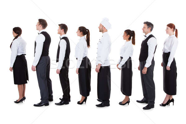 Waiters and waitresses standing in queue Stock photo © AndreyPopov