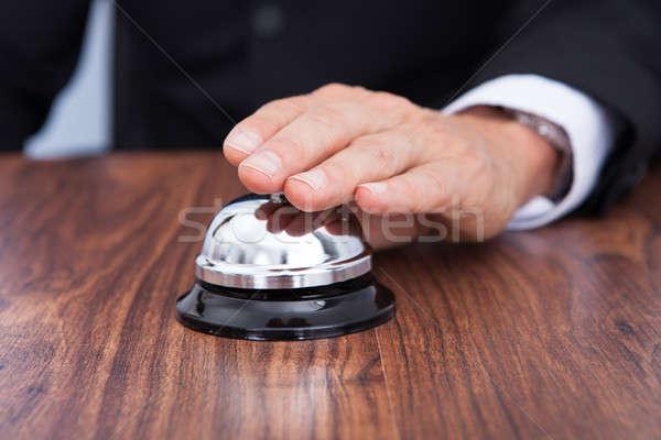 Stock fotó: Közelkép · kéz · szolgáltatás · harang · fa · asztal · fa