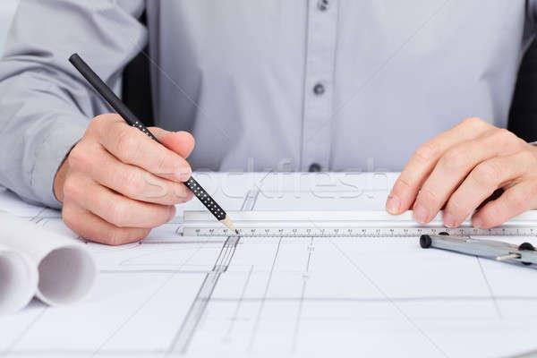 építész rajz terv közelkép személyek kéz Stock fotó © AndreyPopov
