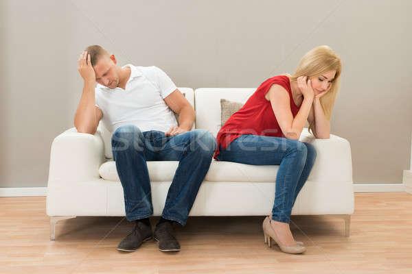 Foto stock: Deprimido · casal · sessão · sofá · casa