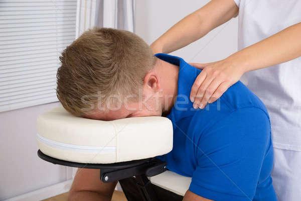 Hombre hombro masaje femenino salud medicina Foto stock © AndreyPopov