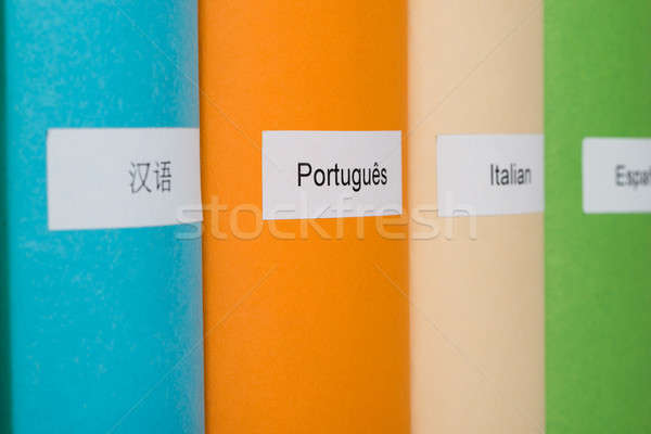 Stock photo: Different Languages Label On Book