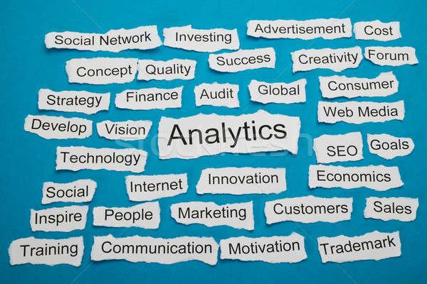 Woord analytics stuk gescheurd papier papier ander Stockfoto © AndreyPopov