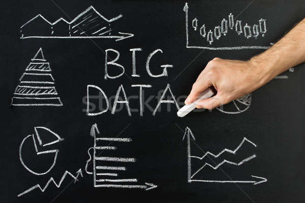 ストックフォト: ダイアグラム · ビッグ · データ · 文字 · 黒板 · 手
