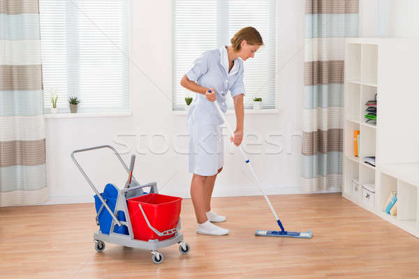 Homme gouvernante nettoyage étage jeunes mur Photo stock © AndreyPopov