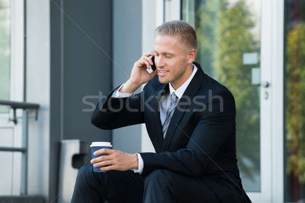 Businessman Looking At Cellphone Stock photo © AndreyPopov