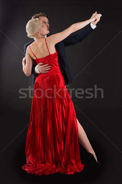 Dans siyah portre genç mutlu Stok fotoğraf © AndreyPopov