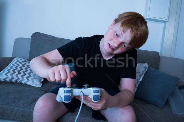 Stock fotó: Fiú · kisajtolás · gomb · botkormány · boldogtalan · ül