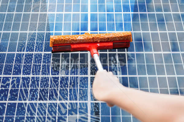 Person Cleaning Solar Panel Stock photo © AndreyPopov