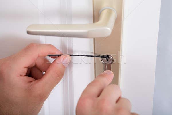 Foto stock: Mano · puerta · manejar · casa · primer · plano