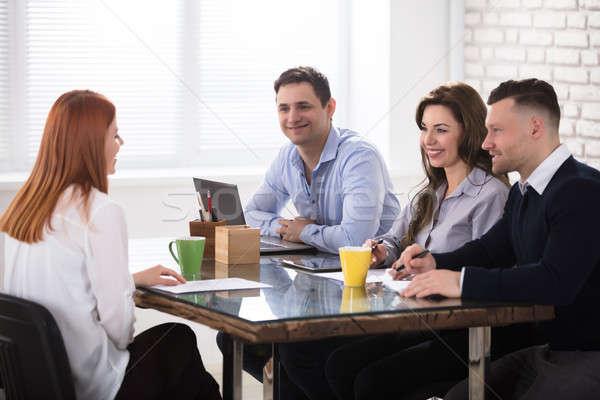 Pessoas de negócios entrevista de emprego feliz mulher escritório negócio Foto stock © AndreyPopov