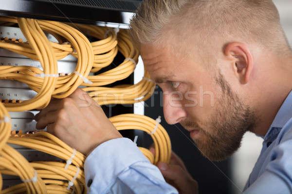 Technik serwerów przewody data center młodych Zdjęcia stock © AndreyPopov