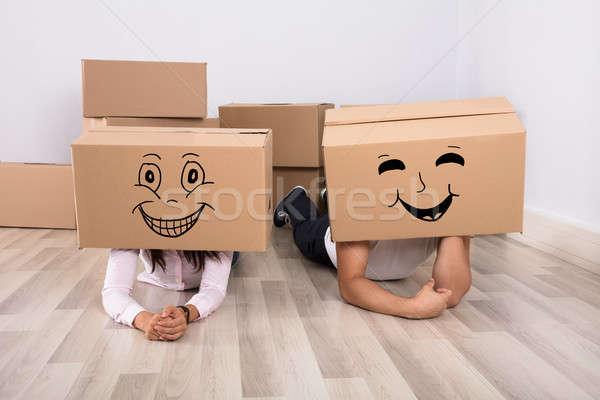 Foto stock: Feliz · Pareja · piso · cartón · cajas