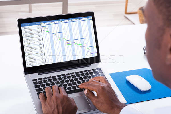 Businessman Working With Gantt Chart On Laptop Stock photo © AndreyPopov
