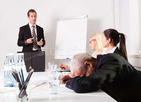 Biznesmen snem prezentacji zmęczony nudzić dziewczyna Zdjęcia stock © AndreyPopov