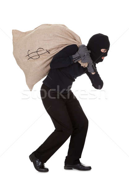 Thief carrying a large bag of money Stock photo © AndreyPopov