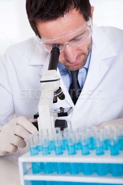 Stock fotó: Labor · technikus · mikroszkóp · férfi · fogas · teszt