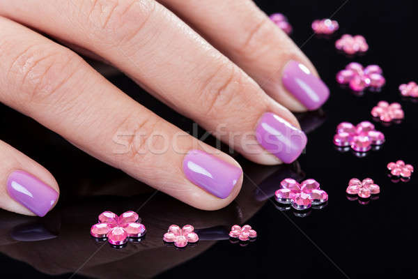 Close-up Of Fingernails And Rhinestones Stock photo © AndreyPopov
