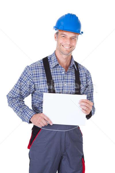 Férfi munkás plakát boldog érett fehér Stock fotó © AndreyPopov