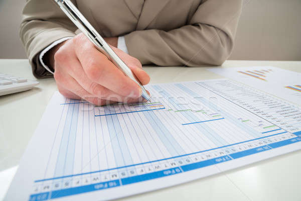 Businessman Making Gantt Diagram Stock photo © AndreyPopov