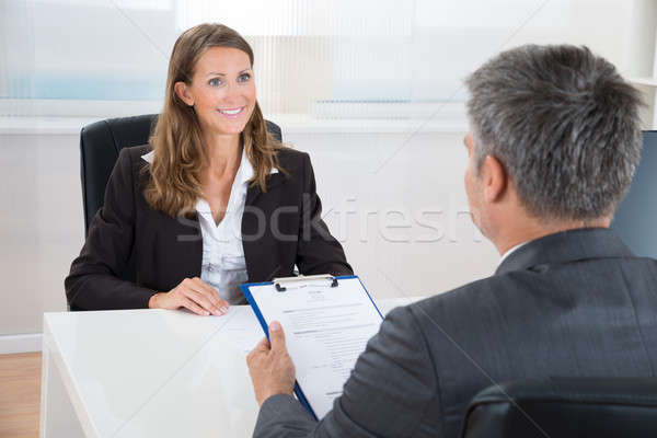 Manager Interviewing A Female Applicant Stock photo © AndreyPopov