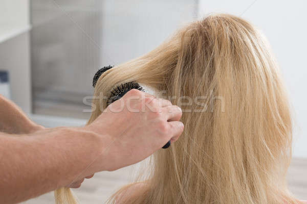 Hairstylist Brushing Woman's Hair Stock photo © AndreyPopov