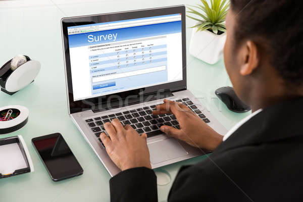 Close-up Of A Businesswoman Filling Online Survey Form Stock photo © AndreyPopov