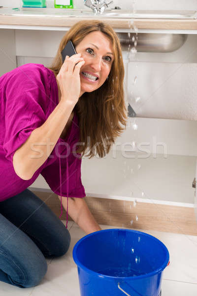 Angry Woman Calling To Plumber Stock photo © AndreyPopov