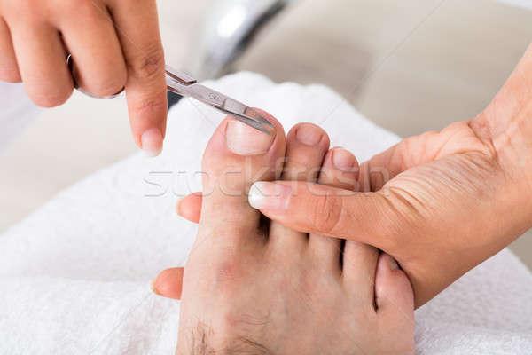 Manicurist With Scissors Trimming Person's Toenail Stock photo © AndreyPopov
