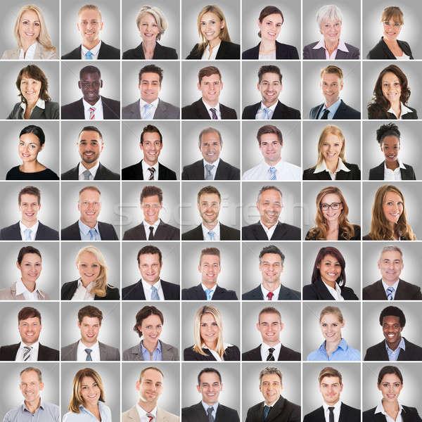Kollázs mosolyog üzletemberek több nemzetiségű csoport üzletemberek Stock fotó © AndreyPopov