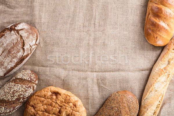 Baked Bread On Linen Cloth Stock photo © AndreyPopov