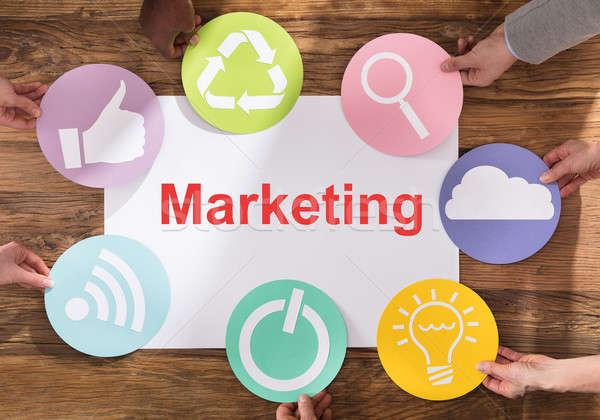 Strategia marketingowa zespołu różny symbol Zdjęcia stock © AndreyPopov