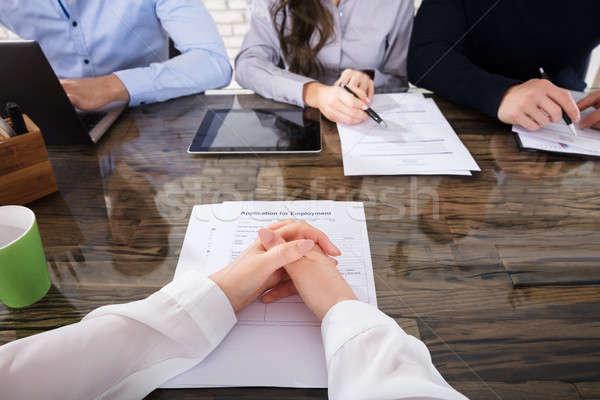 Stockfoto: Aanvrager · corporate · werving · interview · kantoor · handen
