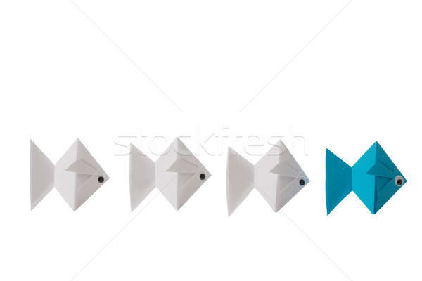 Origami Paper Fishes In A Line Stock photo © AndreyPopov