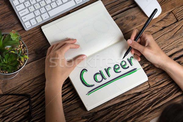 Menschlichen Hand Zeichnung Karriere Ansicht Notebook Business Stock foto © AndreyPopov