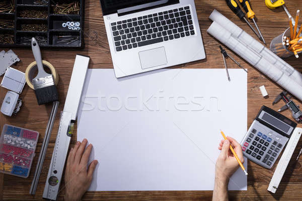 Architecture Drawing Blueprint With Pencil Stock photo © AndreyPopov