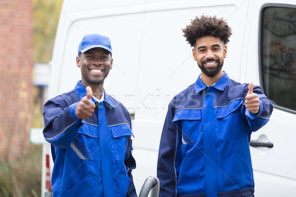 Portrait Of Two Male Janitor Giving Thumbs Up Stock photo © AndreyPopov