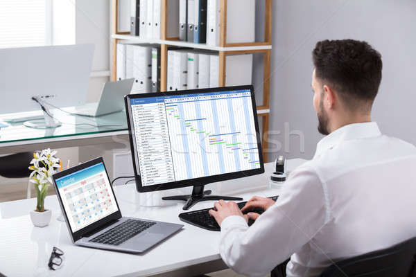 Businessman Analyzing Gantt Chart On Computer Stock photo © AndreyPopov