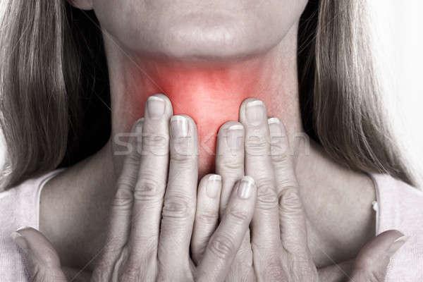 Kadın boğaz ağrı olgun kadın Stok fotoğraf © AndreyPopov