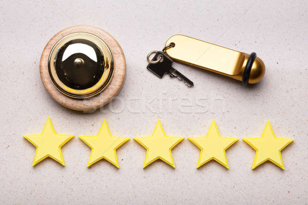 Service Bell, Hotel Key And Five Star Rating Icon Stock photo © AndreyPopov