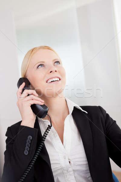 Güzel işkadınları konuşma telefon ofis el Stok fotoğraf © AndreyPopov