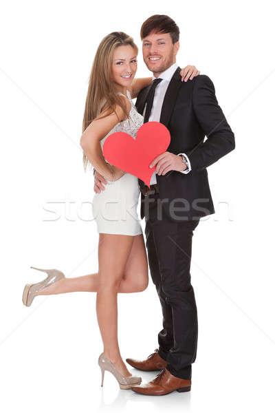 Geïsoleerd witte liefde hart paar Stockfoto © AndreyPopov