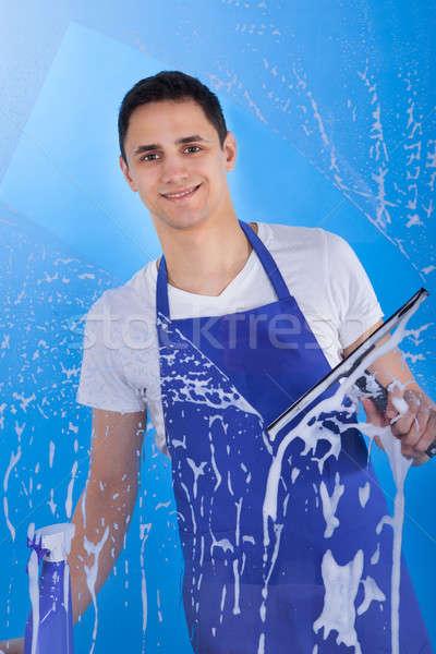 Férfi szolgáló takarítás üveg portré fiatal Stock fotó © AndreyPopov