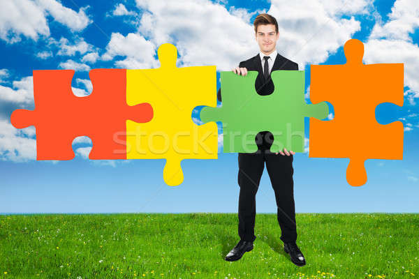 Confident Businessman Solving Jigsaw Puzzle On Field Stock photo © AndreyPopov